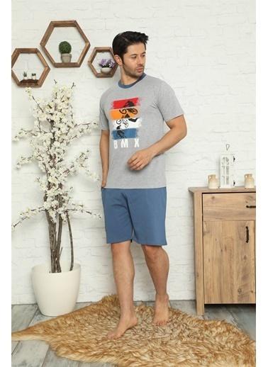 Akbeniz Erkek %100 Pamuk Cepli Kapri Pijama Takımı 6733 Gri